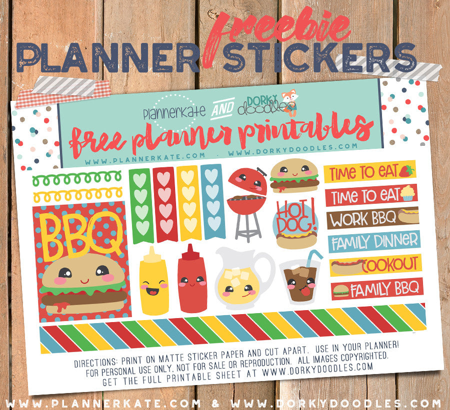 picture about Free Printable Food Planner Stickers identified as Totally free BBQ Planner Stickers Dorky Doodles